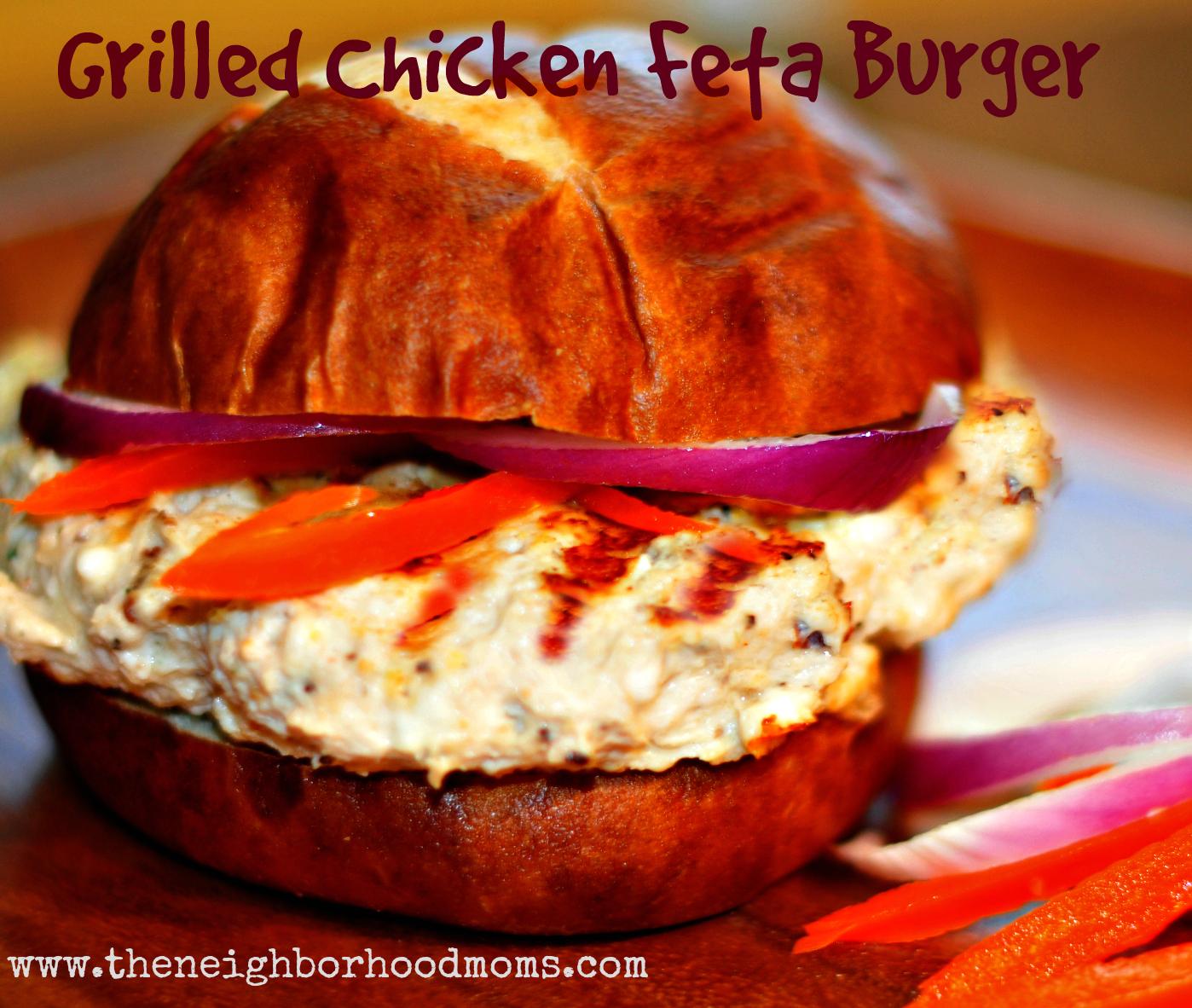 Grilled Greek Chicken Feta Burger - The Neighborhood Moms