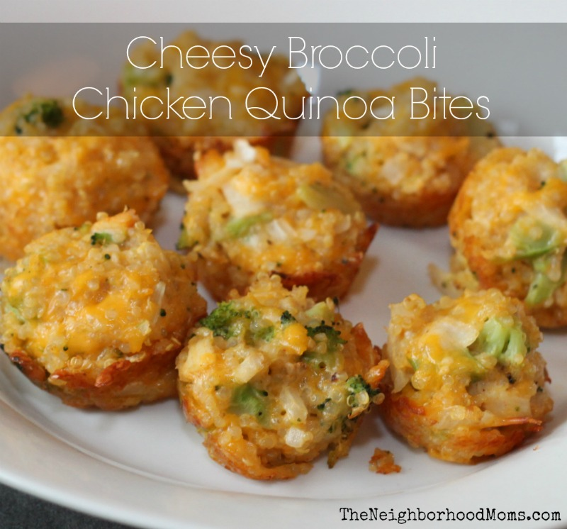 Cheesy Broccoli Chicken Quinoa Bites