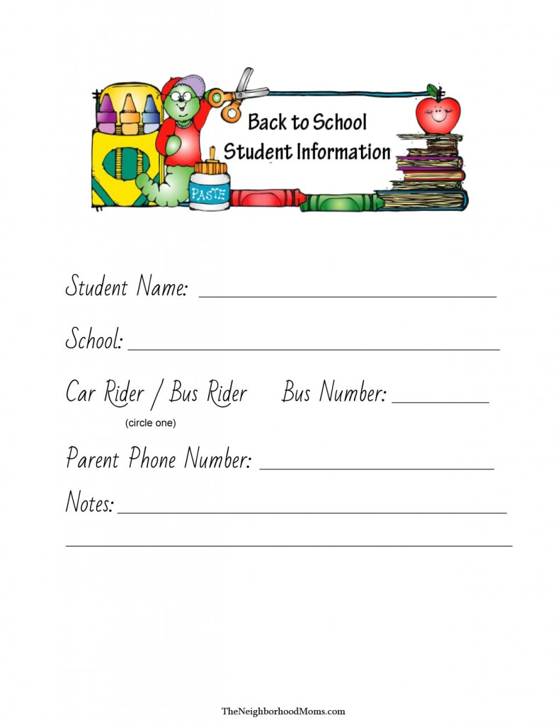 Back to School Info Printable