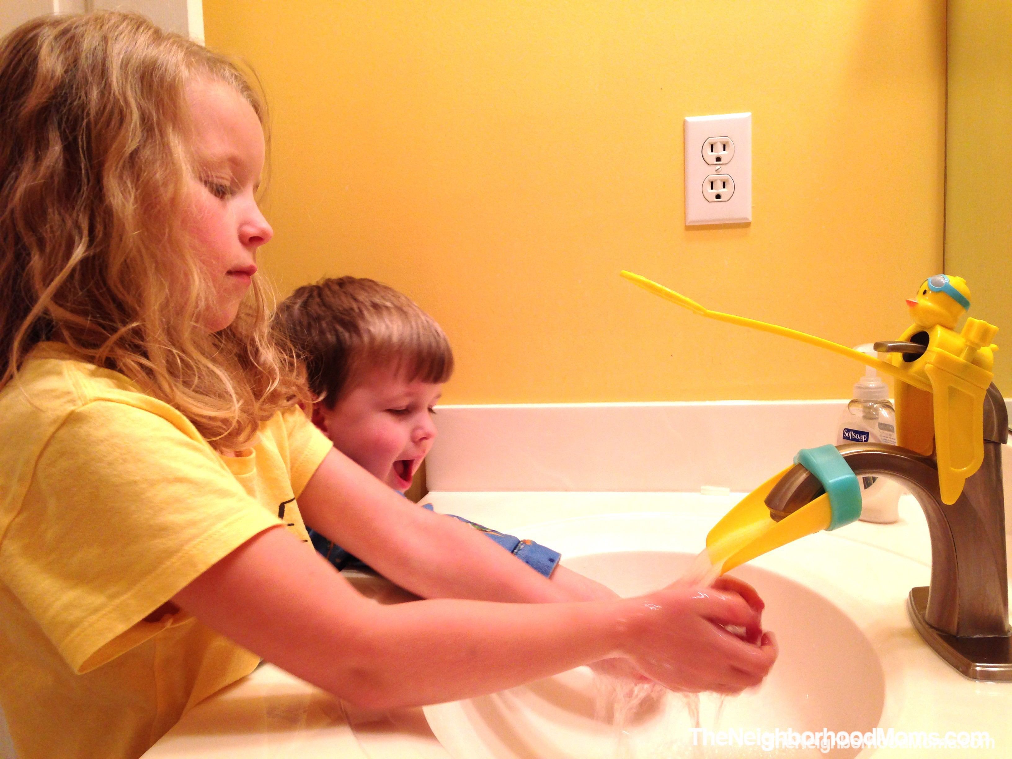 Aqueduck Handle Extender and Faucet Extender - The Neighborhood Moms