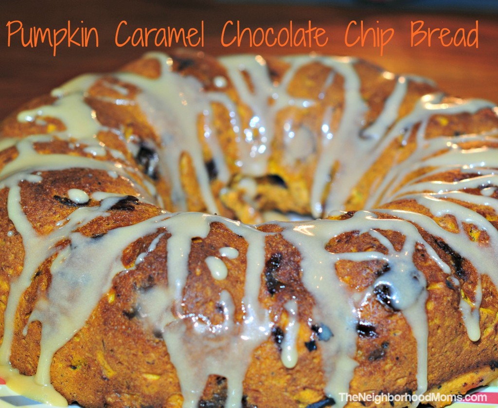 Pumpkin Caramel Chocolate Chip Bread with Caramel Sauce