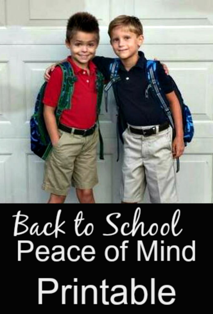 Back to School Printable with Vital Information for your Kids!