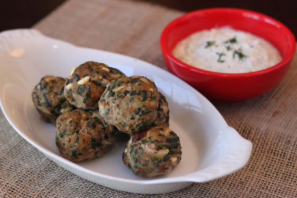 Low Carb Mediterranean Turkey Meatballs with Homemade Tzatziki